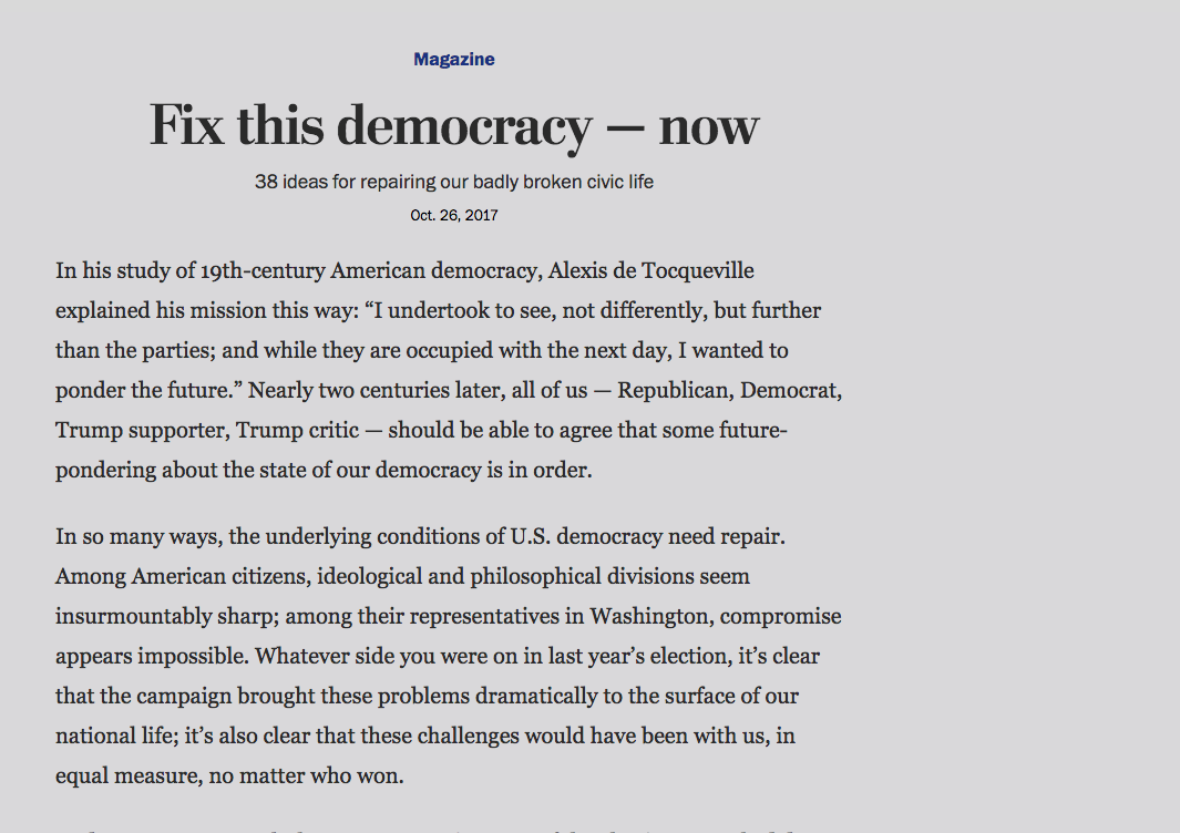 38 Ways to Fix Democracy